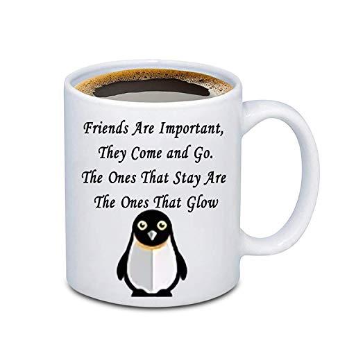 BEKECH Penguin Friendship Mug BFF Mug Friends Are Important They Come and Go Coffee Mug Long Distance Relationship Mug Best Friend Mug Penguin Mug (penguin)