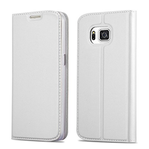 Cadorabo Hülle für Samsung Galaxy Alpha in Classy Silber - Handyhülle mit Magnetverschluss, Standfunktion & Kartenfach - Hülle Cover Schutzhülle Etui Tasche Book Klapp Style