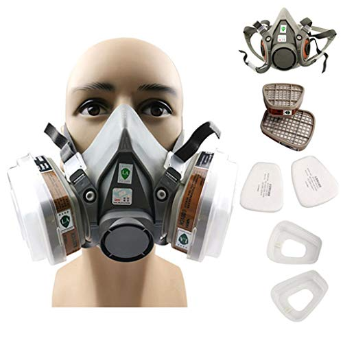 TYXTYX 7 in 1 Half Face Respirator Dust Gas Mask for Painting Spray Pesticide Chemical Smoke Gas Mask,for Painting, Dust, Particulate, Chemicals, Welding and Other Work Protection