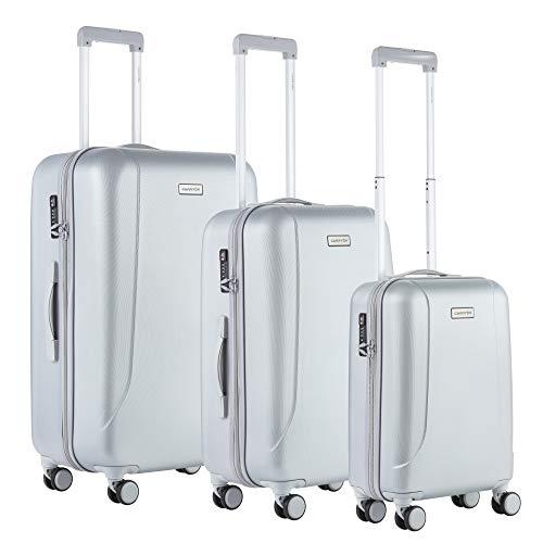 CarryOn Carryon - Skyhopper 3er Reisegepäck - OKOBAN Registrierung - TSA Koffer - Hartschalen Gepäck - Reisekoffers (Silber)