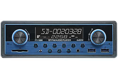 Dual USB Bluetooth Car Stereo, FM Radio Receiver, Hands-Free Calling, Built-in Microphone, USB/SD/AUX Port, Sky Blue Dual Knob Audio Car Multimedia MP3 Player, USB Fast Charging