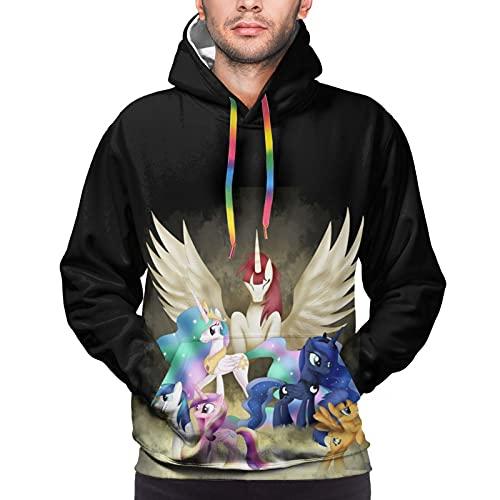 My Little Pony - Sudadera con capucha para hombre, con capucha deportiva y de ocio, temperamento, cómodo, tacto todo partido, ropa de moda para hombre, talla XXL, color negro