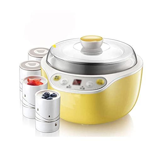 GPWDSN Joghurtbereiter,automatische Keramik Joghurtbereiter Frozen Joghurtmaschine Reisweinbereiter Intelligentes Timing Edelstahleinlage mit 4 Tassen