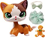lpsloverqa Flame Shorthair Cat Yellow Green Heart Eyes with LPS Accessories Bow Skirt Food Kitten Figures Collection Boys Girls Kids Gift Set (Yellow)