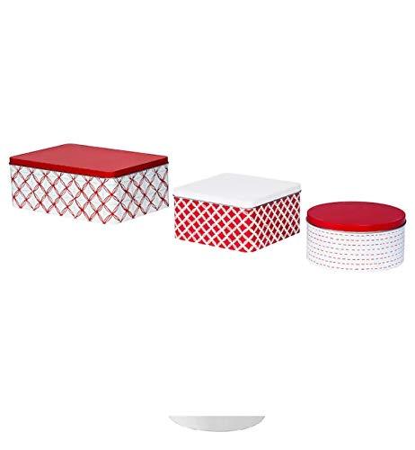 Ikea VINTERFEST Dose mit Deckel verschiedene Formen (weiß, rot) 3er Set
