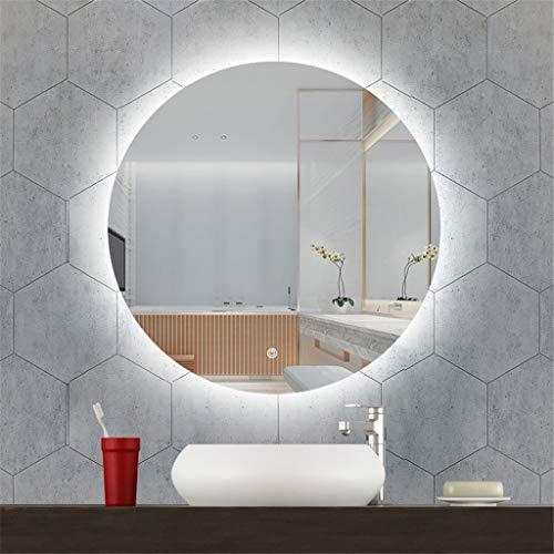 Meters ronde LED-badkamerspiegel - wandspiegel met touch-schakelaar, dimbare verlichte spiegel met wit/warme lichtkleur, anti-condens, 24 inch