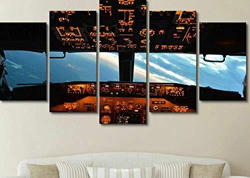 Loveygg 5 Piezas Pintura sobre Lienzo Moderna Pintura Impresión del Hogar Sala Estar Dormitorio Cuadro Regalo Carteles Avión De Cabina De Vuelo Sky View Plane,100x55cm