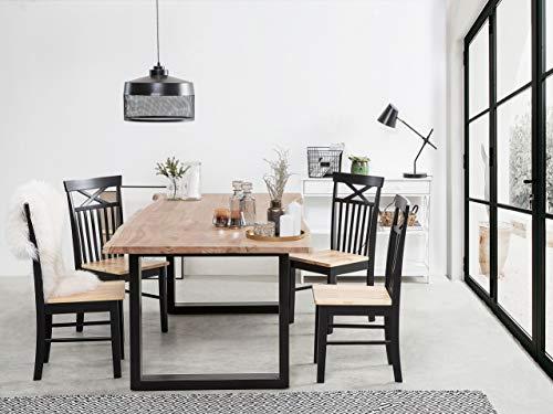 Matbord 200 x 95 cm trä/svart HEBY