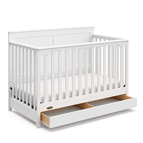 Storkcraft Graco Hadley 4-in-1 Convertible Crib with Drawer - Easily Converts to Toddler Bed, Day Bed or Full Bed - Three Position Adjustable Height Mattress (Mattress Not Included) - White