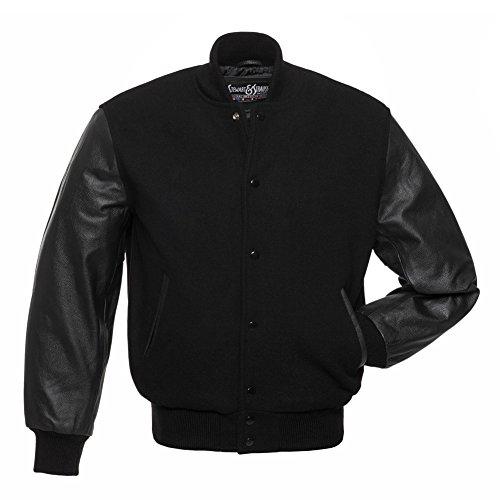 Varsity Letterman Jacket Black Wool & Black Leather,C112-L