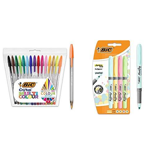 BIC Cristal Multicolour - Pack de 15 unidades, bolígrafos de punta ancha (1,6mm), surtidos + Pastel, Highlighter Grip, Marcadores Punta Ajustable, Multicolor
