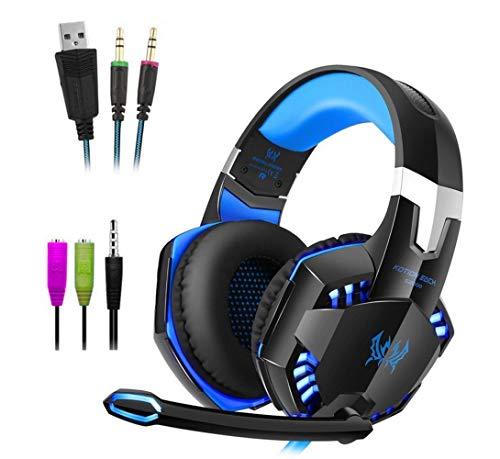 POKAR Gaming Headset para PS4 PS3 Xbox One PC, Crystal Clarity Sound Auriculares profesionales con micrófono para el portátil Mac Laptop