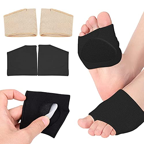 2 pares de almohadillas metatarsianas para mujer, almohadillas de gel para metatarsalgia, almohadillas el alivio del dolor, almohadillas de manga metatarso para mujer 2 colores (negro + beige) (S)