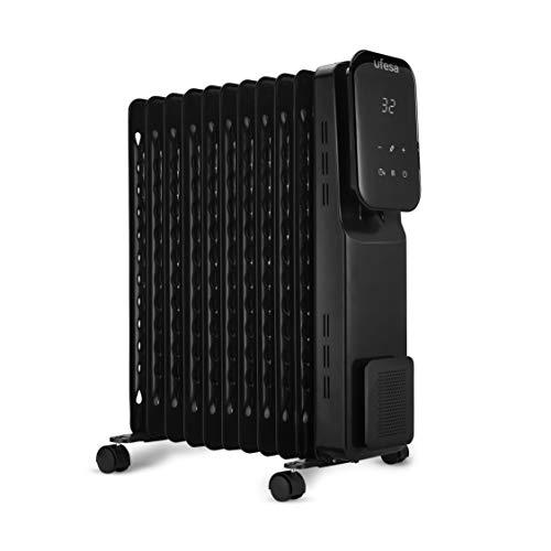 Ufesa RD2500D - Radiador de Aceite Portátil 2500W, con Pantalla Digital Táctil, Temporizador de 24h, 11 elementos tipo Convector, Temperatura Regulable de 3 Niveles, Sistema Seguridad Antivuelco