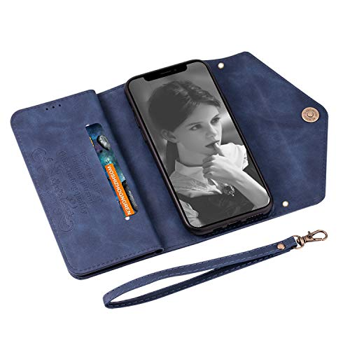 UKDANDANWEI iPhone 11 Pro Max Case, PU Leather Flip Case Dual Folio Card Slot Sleeve Housing with Wrist Strap Magnetic Stand Case Cover for iPhone 11 Pro Max -Blue