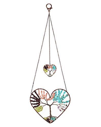 CrystalTears Árbol de la vida decorativo de bronce hecho a mano con alambre en forma de corazón y árbol de la vida para colgar en la pared, decoración de salón, ventana, 5 colores