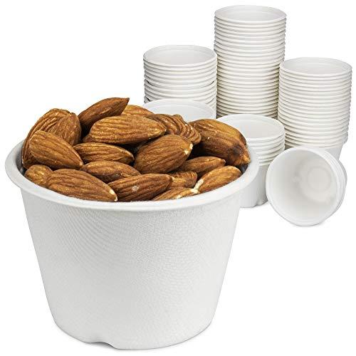 [Paquete de 100] Taza blanca compostable descartable, 100 % biodegradable caña de azúcar/bagasse, papel y taza de plástico,...