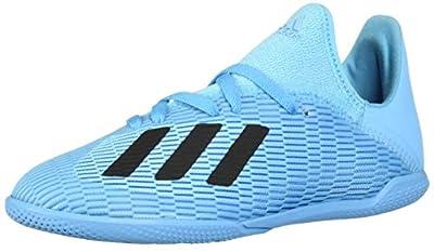 adidas Unisex-Kid's X 19.3 Indoor Soccer Shoe, Bright Cyan/Black/Shock Pink, 3.5 M US Big Kid