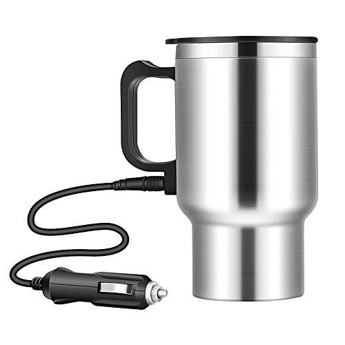 SOOTOP Bollitore elettrico, bollitore per auto da 500 ml, accendisigari portatile da viaggio in acciaio inossidabile Bollitore per acqua calda Bollitore elettrico per tè, caffè (12V) (500ML)