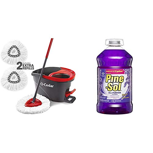 O-Cedar Easywring Microfiber Spin Mop & Bucket Floor Cleaning System with 2 Extra Refills & Pine-Sol Commercial Solutions Liquid Cleaner, Lavender, 1,12 Galones (144 Fl Oz) 4,25L