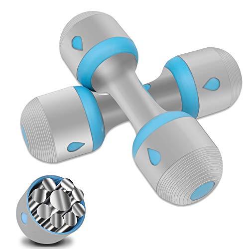 Mancuerna de Musculación Ajustable 2 x 5 kg, Pesas Ajustables Para Hombre y Mujer, Mango de Neopreno Antideslizante ara Fitness