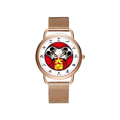 Frauen Uhren Marke Damen Mesh Gürtel ultradünne Uhr wasserdichte Uhr Quarzuhr Weihnachten Daruma Puppe bringt viel Glück ((大吉 Armbanduhr