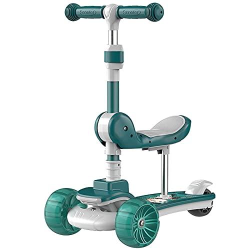 Niños Three Wheel Kick Scooter con Asiento extraíble, LED Ruedas Intermitentes, Altura Ajustable, 3 en 1 Ligero Adecuado para niños de 1 a 8, Azul (Color : Green)