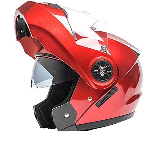YXDDG Casco Moto Anteriore di Vibrazione Flip Anteriore Moto Dual Sport Casco con Dual Visiere per Adulto-Rosso M