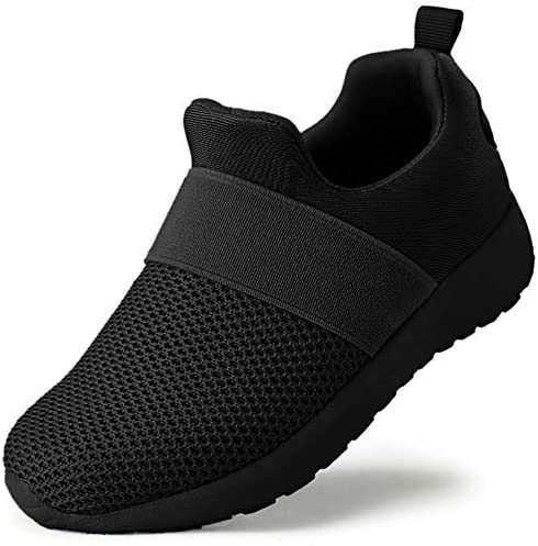 QIJGS Toddler Little Kid Boys Girls Shoes Running Sneakers Athletic Tennis Walking Shoes Black product image
