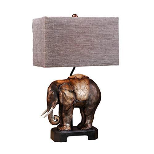 Lámpara de escritorio para sala de oficina Dormitorio Duolun sudeste asiático Tabla elefante lámpara retro europeo lámpara de cabecera Estudio tabla creativa de la lámpara pantalla de la tela de Améri