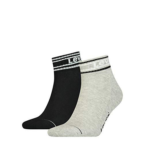 Levi's Pique Logo Cut Socks (2 Pack) Calcetines, Mid Grey Melange/Black, 39-42 Unisex Adulto