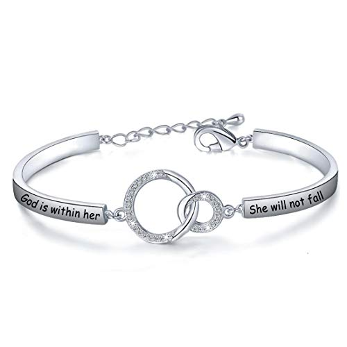 Christian Gift Religious Jewelry Psalm 46:5 God is Within Her She Will Not Fall Bracelet Bible Verse Bracelet Gift For Godmother (God Is S)