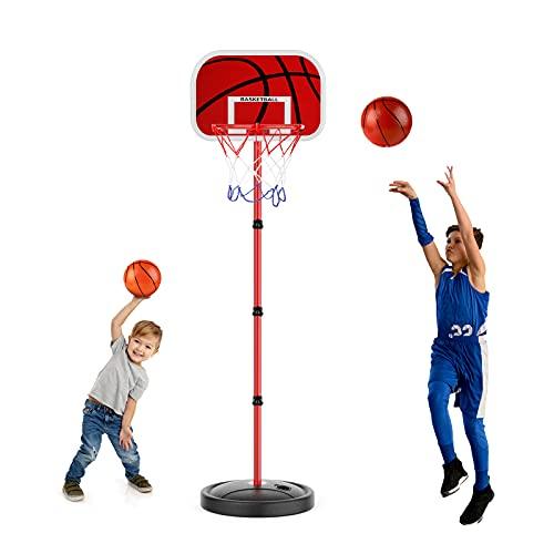 EXTSUD Canasta Baloncesto Infantil, Altura Ajustable 60CM-150CM, para niños 3+, con Redes para Aros de Baloncesto, Regalo de Juguetes de Baloncesto en Exterior y Interior