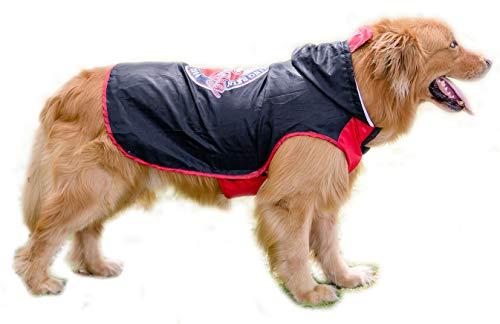 BPS® Chubasqueros Impermeables para Mascotas Perros, Impermeables con Capucha para Perro Mediano y Grande 3 Colores para Elegir con Material 100% Poliéster (Rojo, 60cm) BPS-9114R