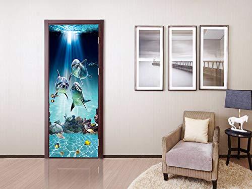 FLFK 3D Peces Delfines Bajo El Mar PVC Adhesivo Fotográfico Vinilos Puerta Pegatina Pared Murales para Cocina Sala de Baño Decorativos 77X200cm