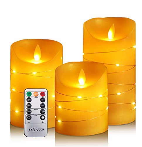 DANIP flameless Candle, with Embedded String Lights, 3-Piece LED Candle, with 10-Key Remote Control, 24-Hour Timer Function, Dancing Flame, Real Wax, Battery-Powered. (Ivory White)