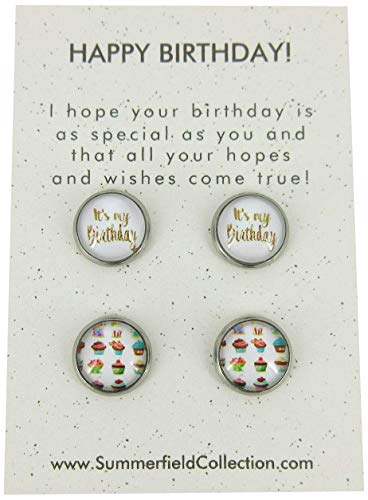 Duo Stud Earrings Stainless Steel Happy Birthday and Cupcake Print Glass 12mm Set
