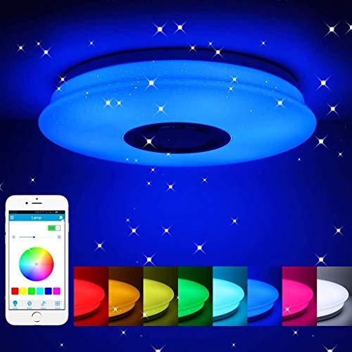 Creatieve led-plafondlamp, smart bluetooth, muziek, plafondlamp, RGB-kleurwisseling, licht met bluetooth-luidspreker, app, afstandsbediening, instelbare helderheid 36  watt