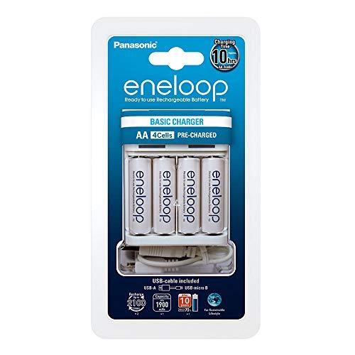 Panasonic eneloop, USB-Ladegerät, für 2/4 Ni-MH Akkus AA/AAA, mit Micro USB-Ladekabel und 4x eneloop AA Mignon, min. 1900 mAh, 2100 Ladezyklen