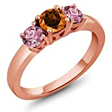 18K Rose Gold Plated Silver 3-Stone Ring Pink Lab Grown Diamond and Set with Poppy Topaz from Swarovski (Size 7)
