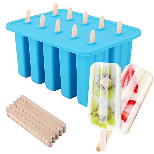 Nuovoware Stampo per Gelato, 10 cavità Stampi Riutilizzabili in Silicone con Vassoio Produttori per Ghiaccioli Gelati DIY Ice Pop Maker - Blu