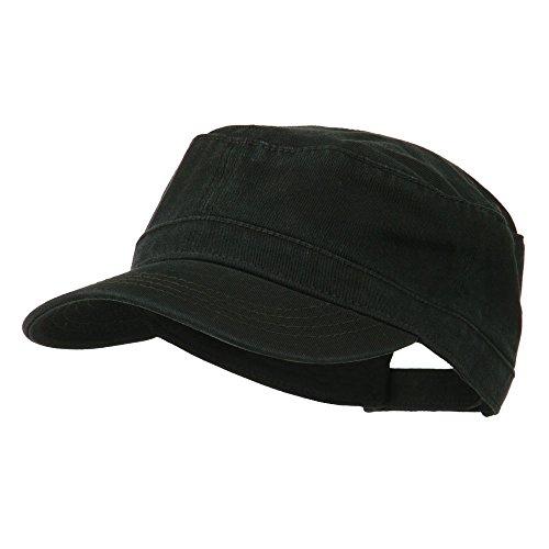 Garment Washed Adjustable Army Cap - Black OSFM