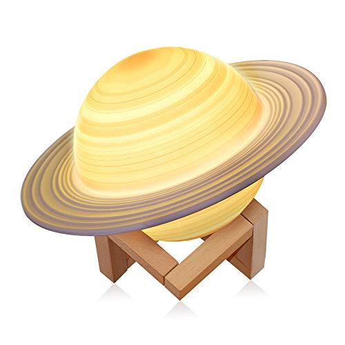 Nachttischlampe Touch Dimmbar - 3D Saturn Atmosphäre Lampe - Schlummerleuchten für Kinder mit 16 Farben und Farbwechsel - USB Wiederaufladbare Tischlampe - Geschenke für Schlafzimmer Deko