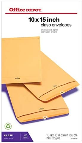 Office Depot Brand Clasp Envelopes 10 x 15 Brown Box of 100 product image