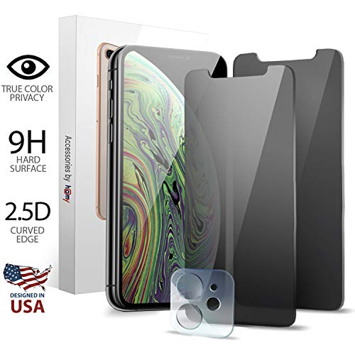 Homy Compatible Privacy Screen Protectors for iPhone 11 (6.1 inch) - Protection Kit Includes: Tinted Privacy Glass Filter + Black Filter + Camera Lens Cover - Real 9H Japanese Glass, Case Friendly