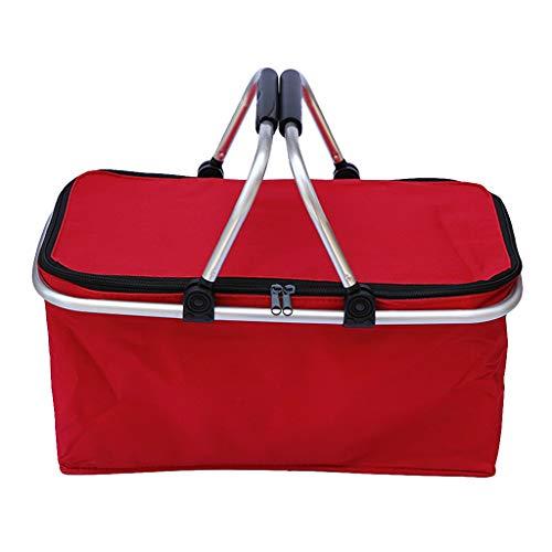 XIANGBEI Cesta de la compra plegable para la colada, bolsa de almacenamiento de tela Oxford con asa para transportar alimentos, juguetes, picnic, viajes