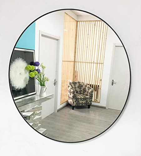 TopB Mirrors - Espejo de pared redondo plateado con marco negro de 4 mm , de 70 cm x 70 cm