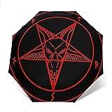 Paraguas de Viaje a Prueba de Viento con Estampado de Estrellas de símbolo satánico - Toldo Reforzado a Prueba de Viento