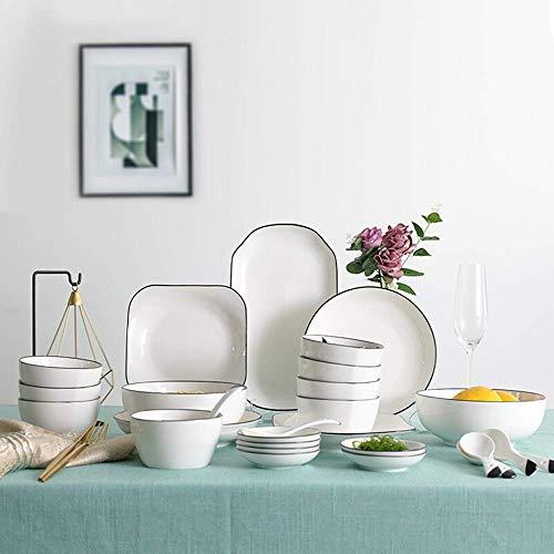 YAeele Tazón de Cereales tazón de cerámica Plato de cerámica Set 29 Set Vajilla Plato Plato Tazón Cuchara Microondas Caja de Regalo de Porcelana Plato de Cereal/tazón de Sopa (Color: Blanco, Tamaño: