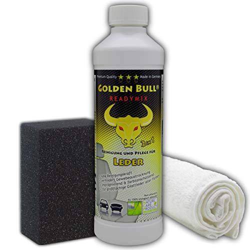 GOLDEN Bull Lederpflege-Set für Glattleder   Ökologischer Leder-Reiniger & Leder-Pflege (2-in-1) 0,5L, Schwamm & Tuch   Schonende Reinigung für Auto Sofa Couch Boot Yacht   biologisch & Zertifiziert